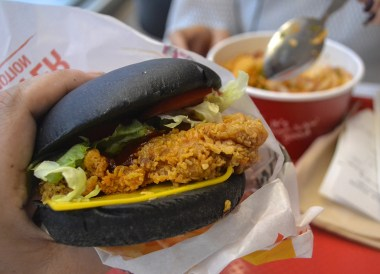Spicy Black Burger in KFC, 24 Hour Fast Food Delivery in Bangkok