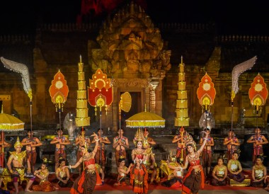 Night time at Phanomrung Festival Historical Park, Buriram Thailand