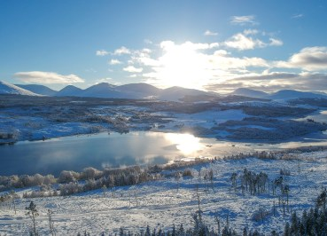 Loch Loyne Viewpoint Winter Road Trip in the Scottish Highlands Snow Scotland