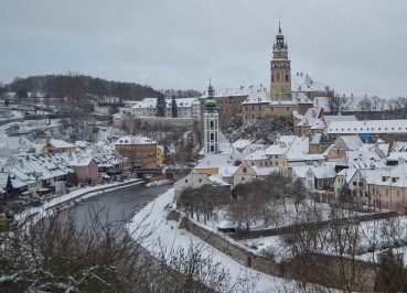 Best Views of Cesky Krumlov in Winter Snow, Czech Republic