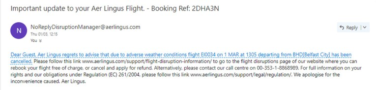 Aer Lingus Flight Cancellation Bad Weather Conditions