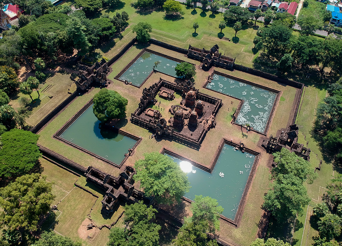 Drone over Muang Tam Temple. Top Attractions in Buriram Thailand