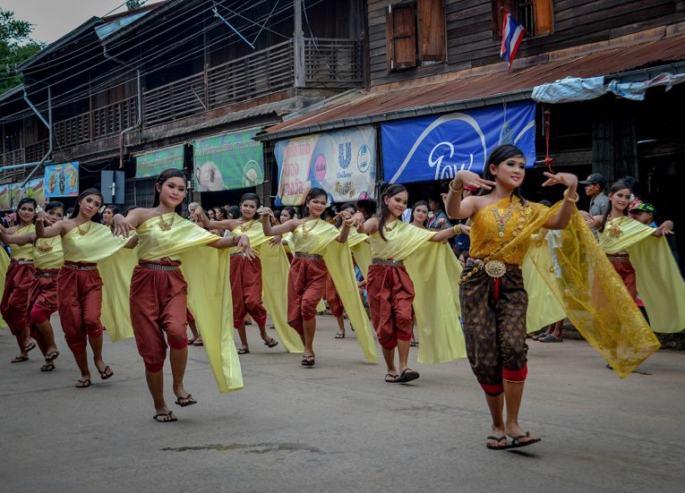 Girls Dancing in Isaan, Big Candle Festival in Isaan Thailand for Thai Lent