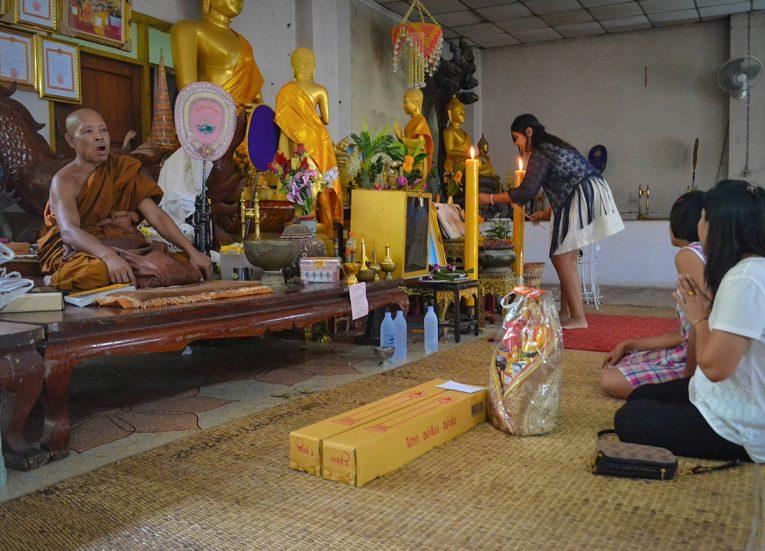 Wak Khao Angkhan Temple in Buriram on Thai Buddhist Lent Day