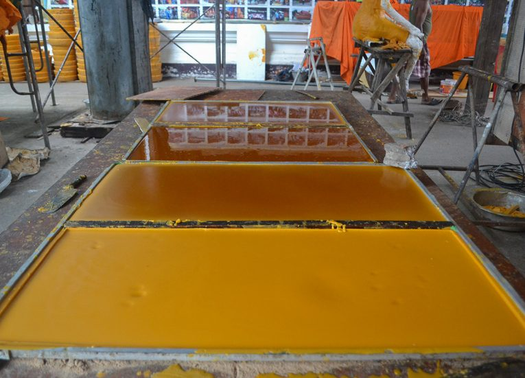 Table of Coloured Wax, Building Candle for Thai Buddhist Lent in Isaan