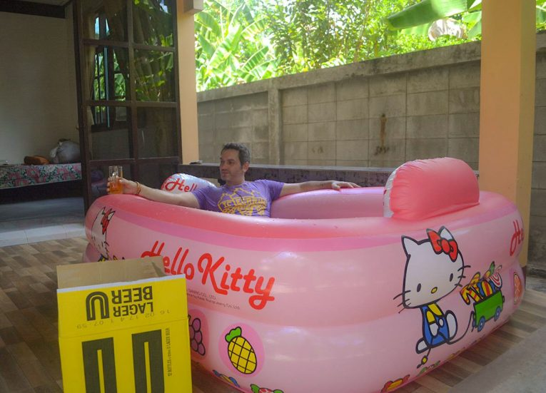 Inflatable Swimming Pool and Beer Songkran Celebrations in Thailand. Thai New Year Holiday