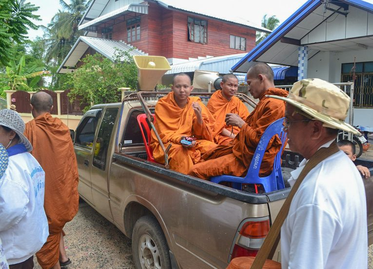 Procession Car with Monks Celebrating Songkran New Year Festival in Thailand