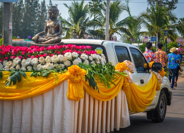 Procession with Buddha Statue in Nang Rong Songkran Festival in Thailand