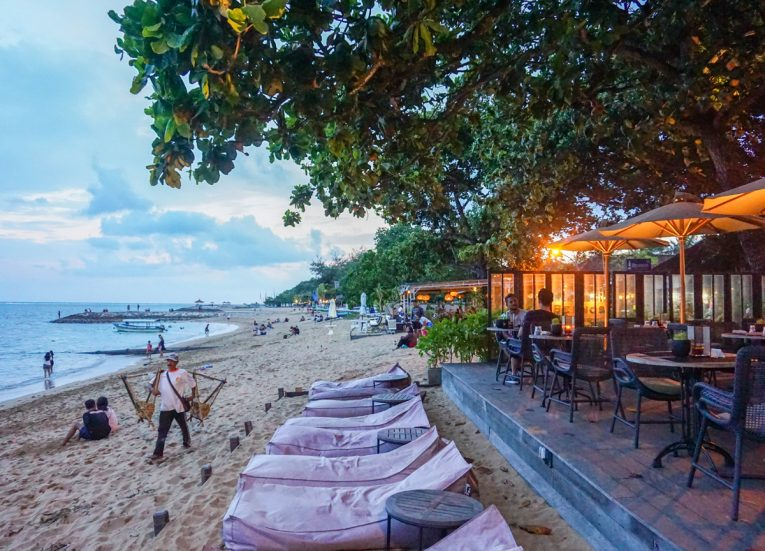 Sunset on Sanur Beach at Kayumanis Seaside Sanur Beach Restaurant