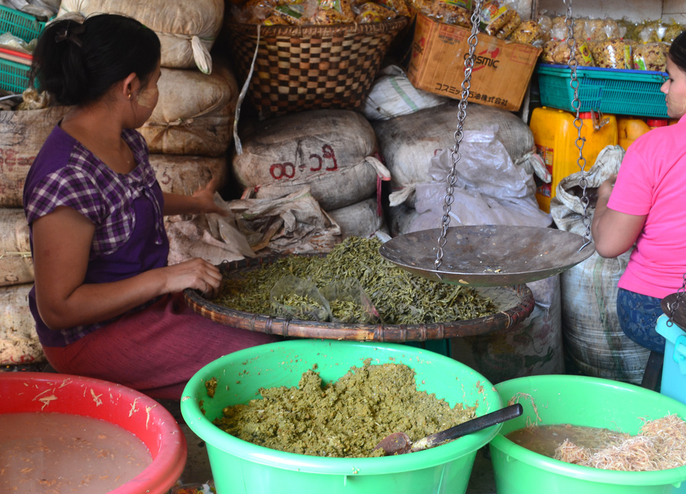 Lahpet Tea Leaf at Market, Top 10 Burmese Food, Eating Myanmar, Burma
