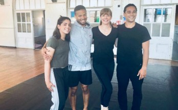 Darcey Bussell with Kevin Edward Turner (right) and dancers from Chameleon