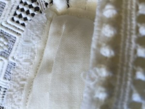 detail of handmade wedding dress