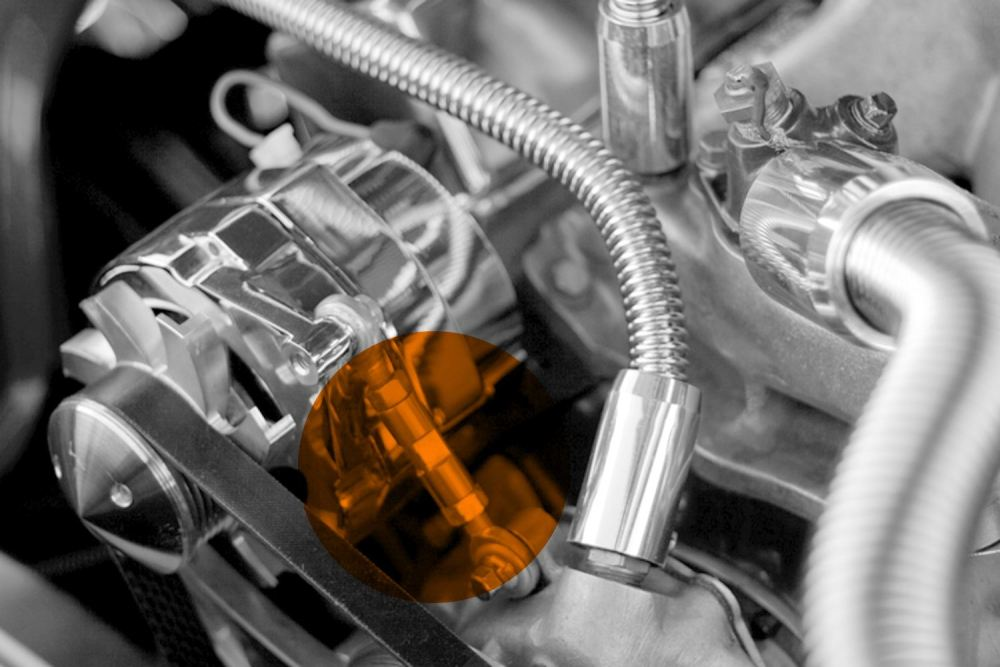 medium resolution of mechanical belt tensioner mounted on an alternator on a custom engine