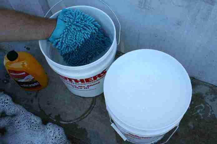 one water bucket and one soapy bucket