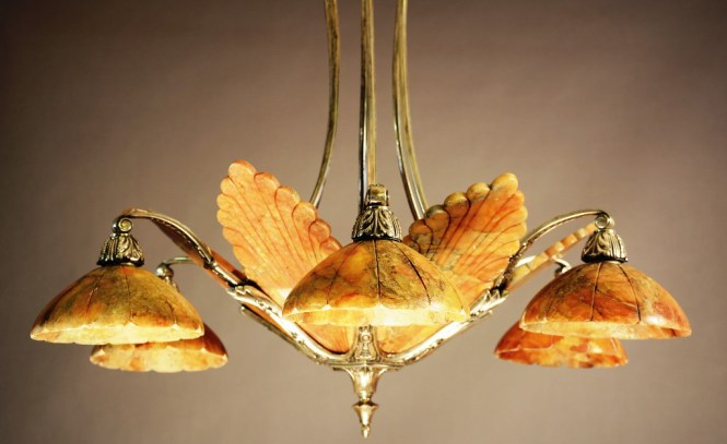 French Art Deco Bronze And Red Alabaster Chandelier Circa 1920 30in X 16in