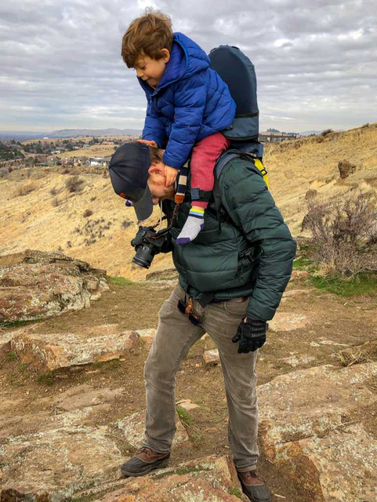 Father and Son On Mountain