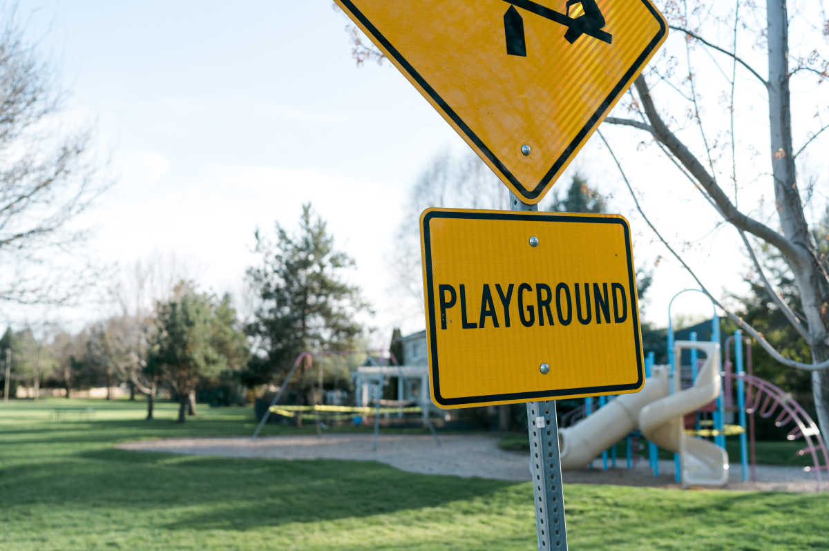 Playground sign in Boise Idaho