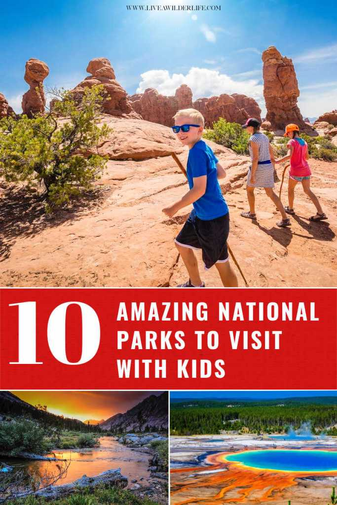 collage of national parks and family walking through arches national park