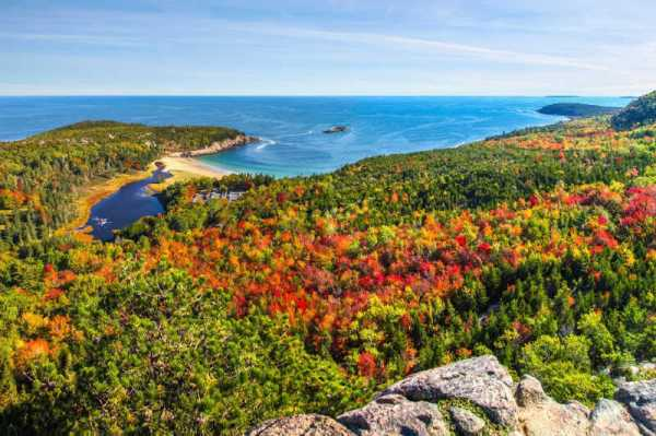 View of ocean from mountain look out at Acadia National Park