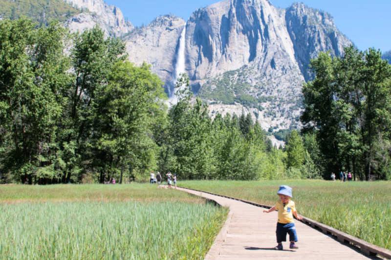 toddler walking boardwalks of Yosemite Valley