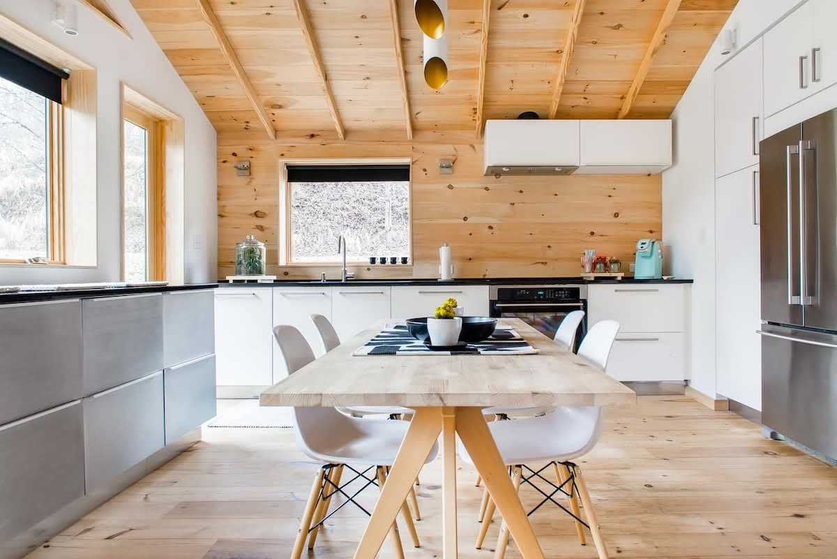 blonde wood and white kitchen