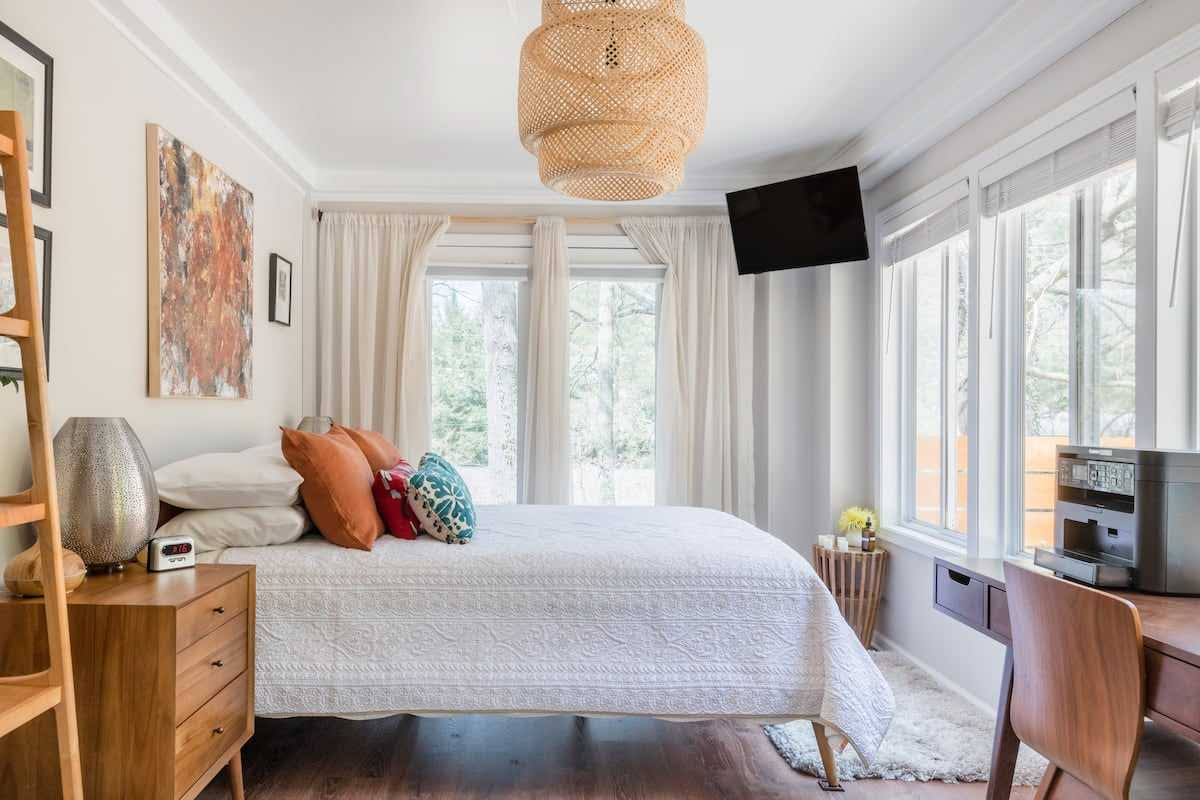 romantic bedroom with windows
