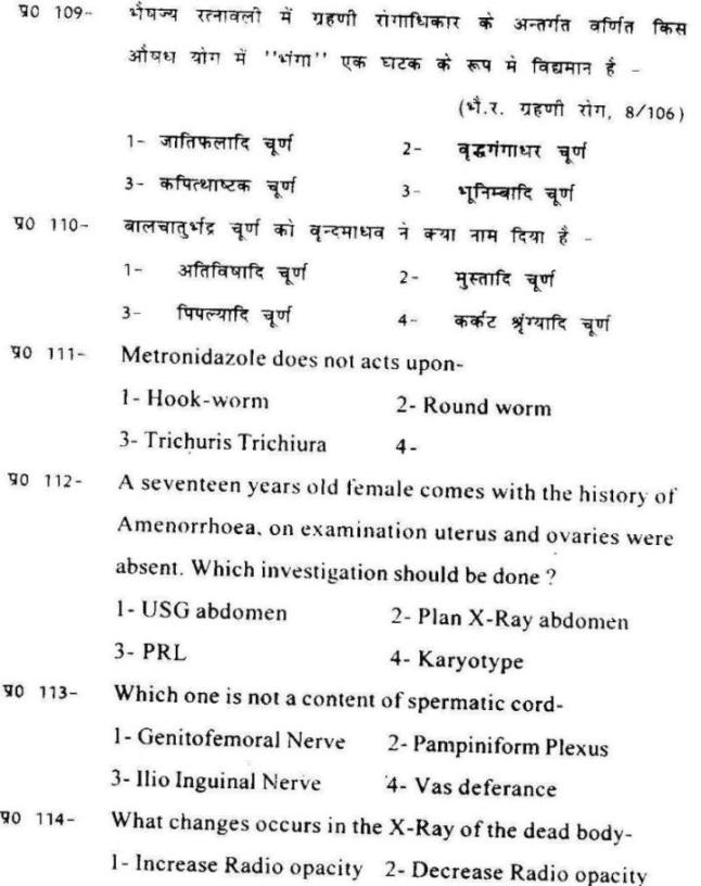 Ayurveda MD/MS Entrance Examination Previous Years
