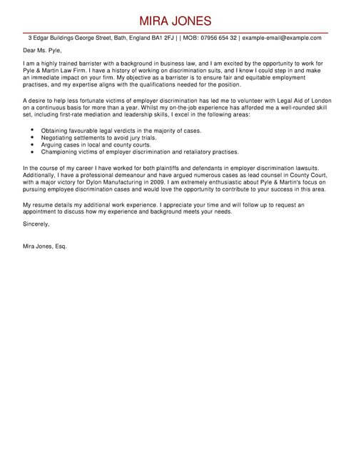 Barrister Cover Letter Template Cover Letter Templates