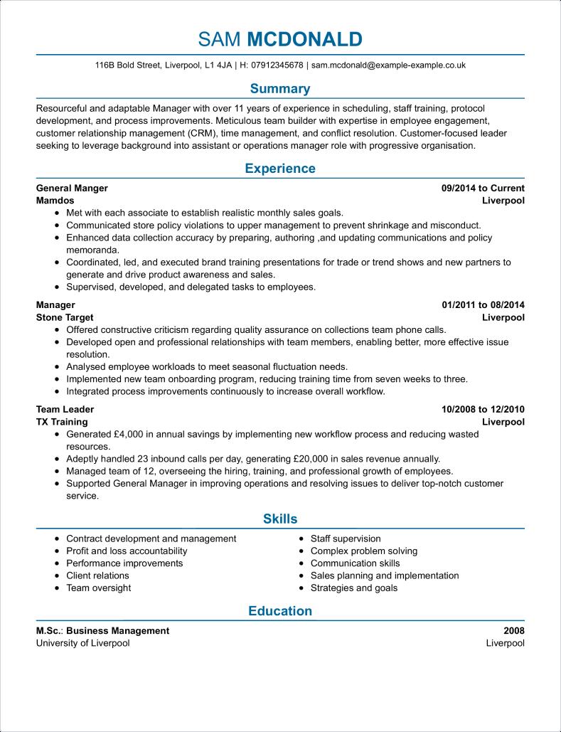 Business CV Templates CV Samples & Examples