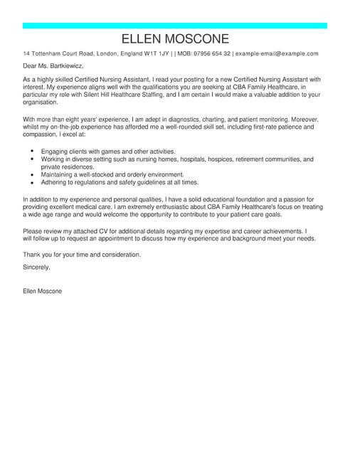 Ceritified Nursing Assistant Cover Letter Template  Cover Letter Templates  Examples