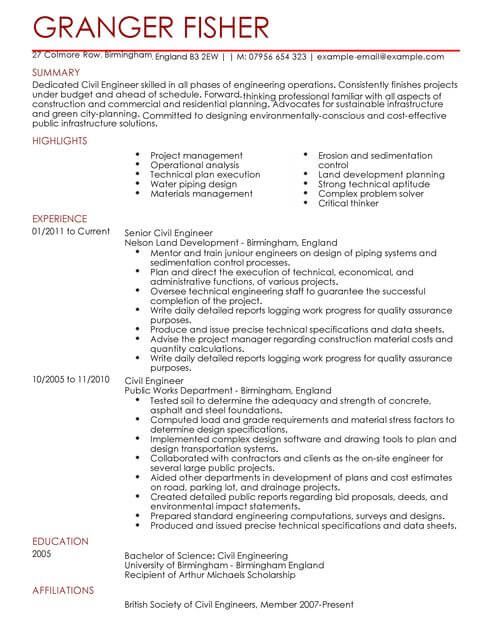 professional cv format for engineers