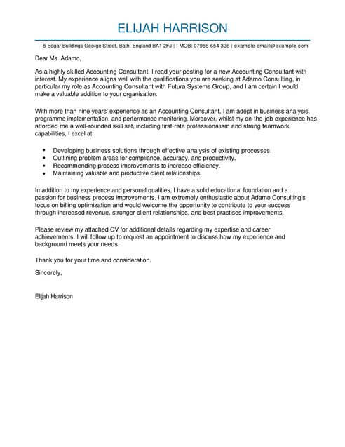 Consultant Cover Letter Template  Cover Letter Templates  Examples