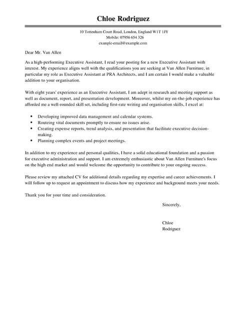 Executive Assistant Cover Letter Template  Cover Letter
