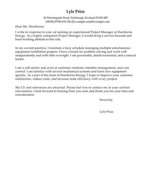 Manager Cover Letter Template Cover Letter Templates