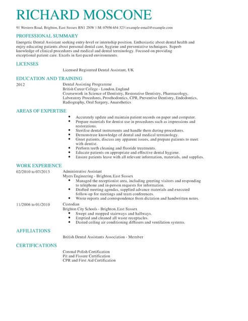 Dental Assistant CV Template CV Samples & Examples
