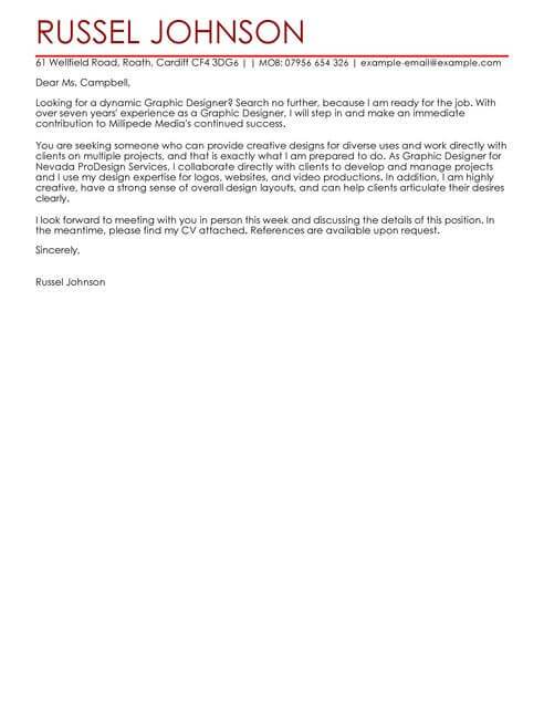 Graphic Designer Cover Letter Template  Cover Letter Templates  Examples