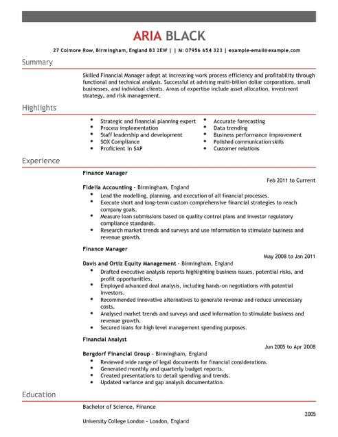 Accounting And Finance Manager CV Template CV Samples