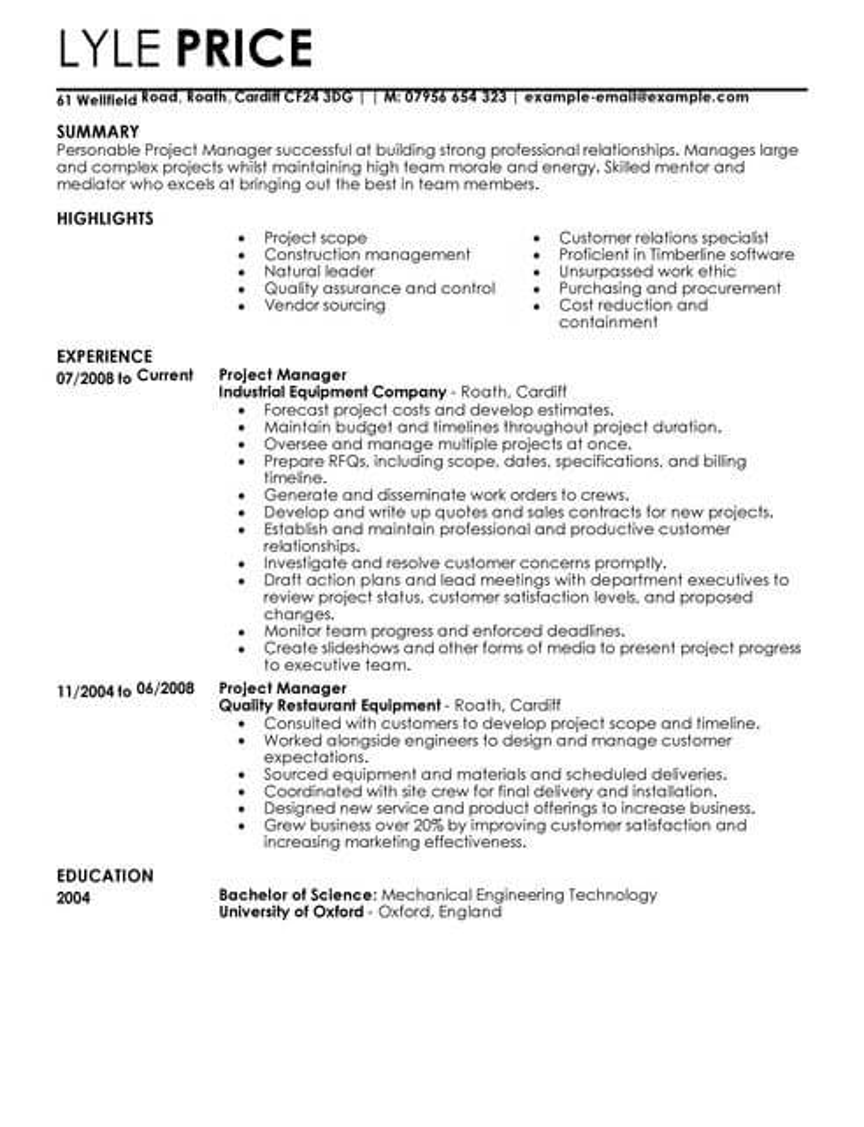 Management CV Templates CV Samples & Examples
