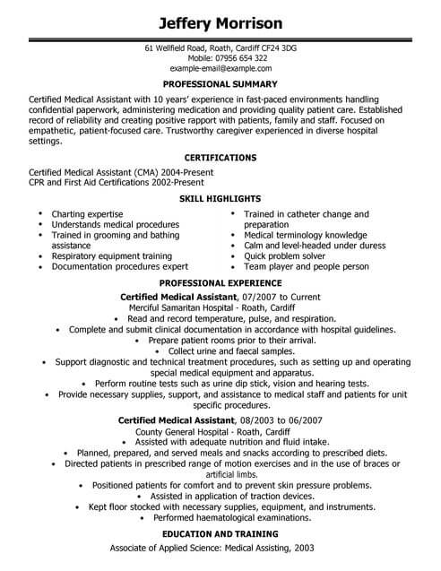 resume templates for healthcare assistant