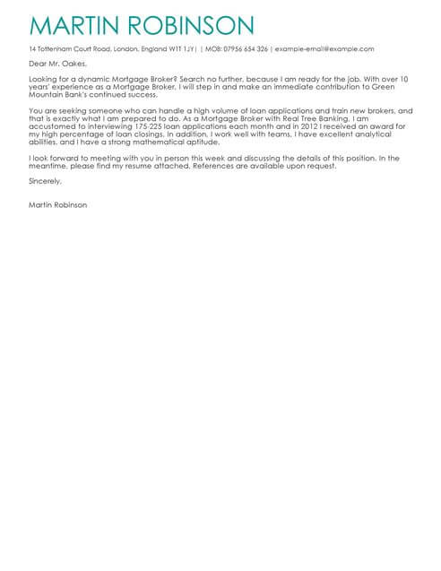 Mortgage Broker Cover Letter Template  Cover Letter Templates  Examples