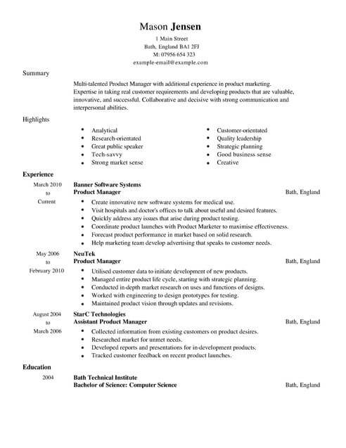 Product Manager CV Template CV Samples & Examples