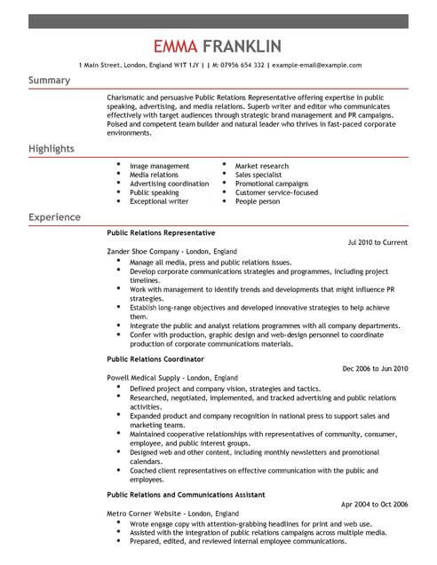 Public Relations CV Example for Marketing | LiveCareer