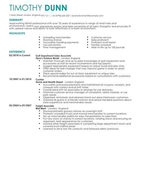 Retail CV Templates CV Samples & Examples