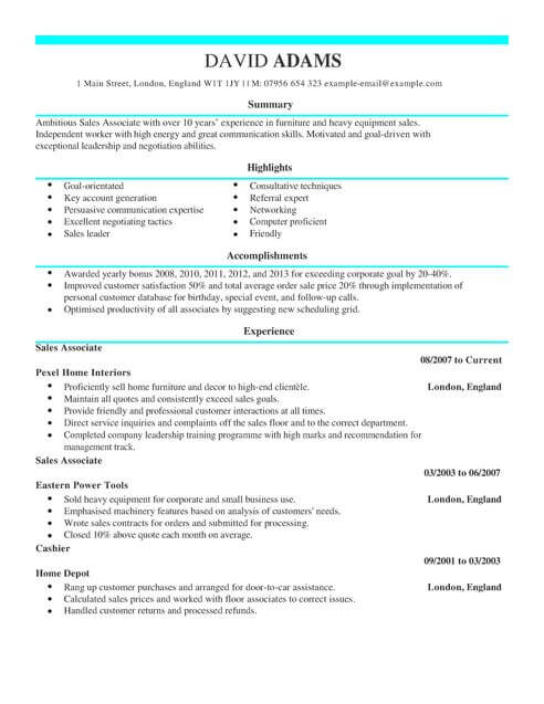 Sales Assistant CV Template CV Samples & Examples