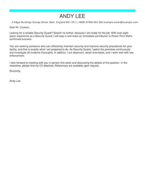 Security Guard Cover Letter Examples  LiveCareer