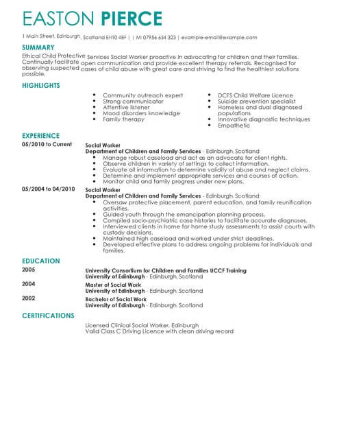Social Services CV Templates CV Samples & Examples