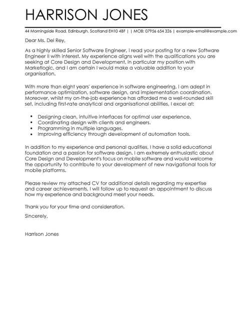 Software Engineer Cover Letter Template  Cover Letter Templates  Examples