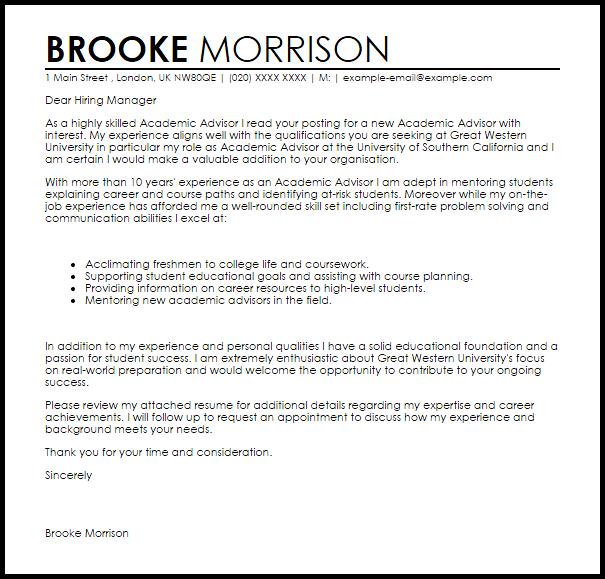 sample academic administrator cover letter