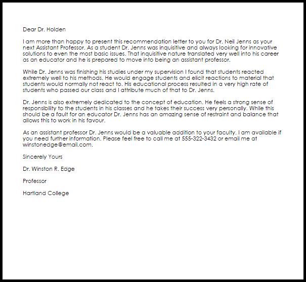 sample recommendation letter from professor for phd