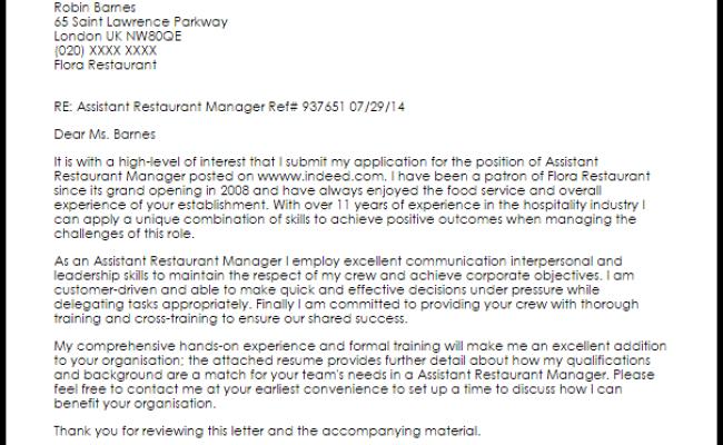 Assistant Restaurant Manager Cover Letter Sample Livecareer